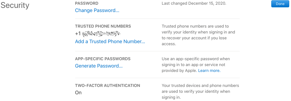 Apple iCloud Security Section with Trusted Phone Number